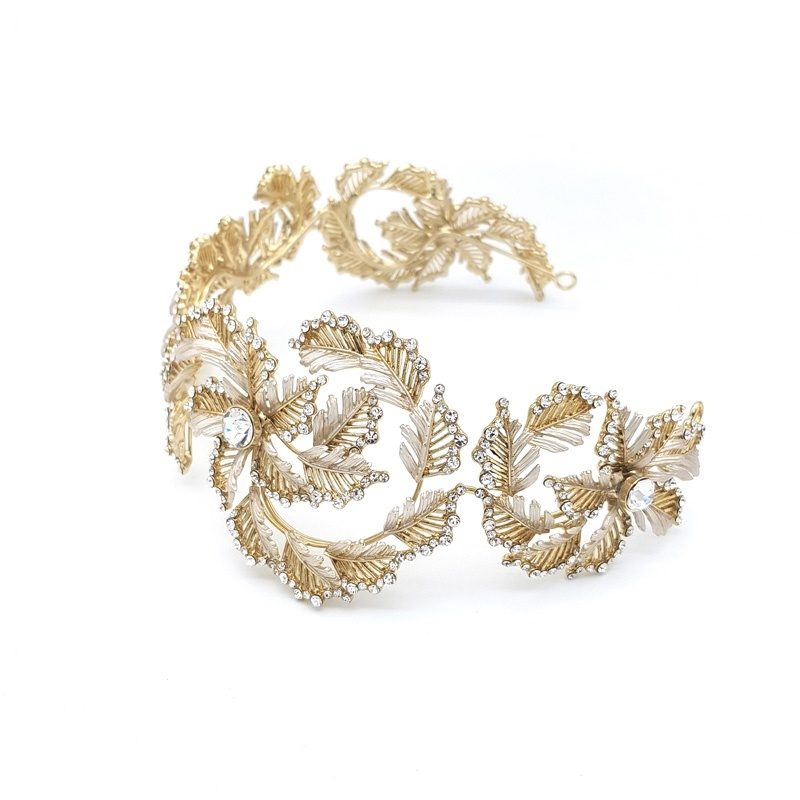 Gold statement bridal headband