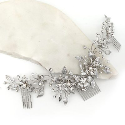 Silver pearl and crystal floral hair comb