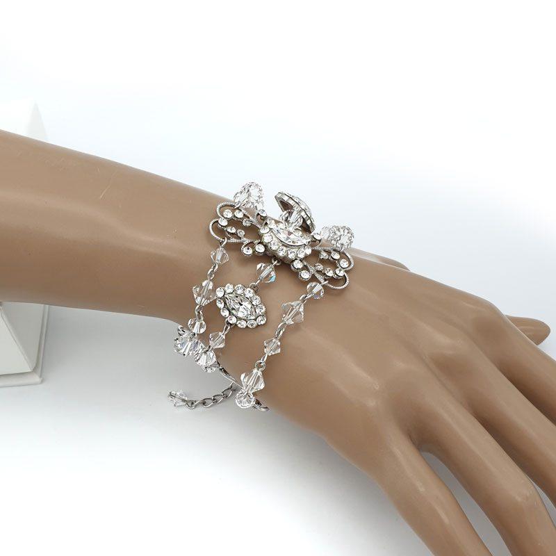 Silver crystal bridal bracelet