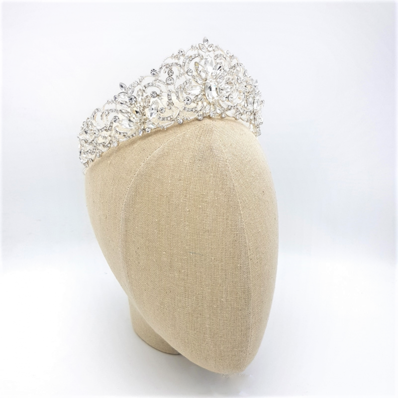 silver statment bridal crown