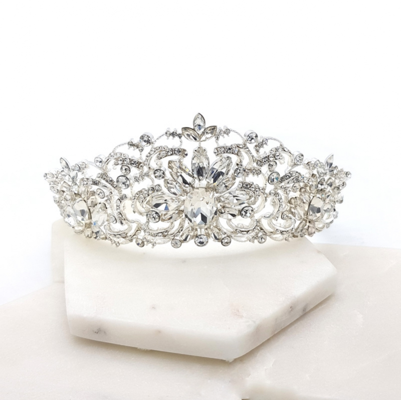 Silver statement bridal tiara