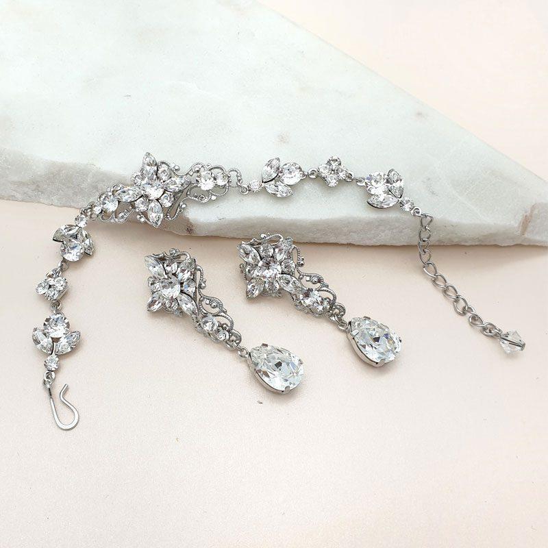 Swarovski crystal bracelet and earring set