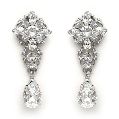 Silver Swarovski bridal earrings