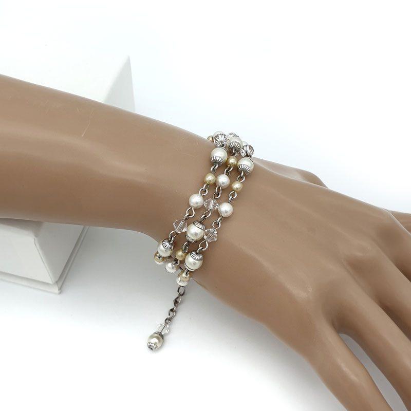 Pearl strand bridal bracelet