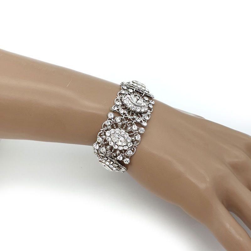 silver crystal vintage bracelet