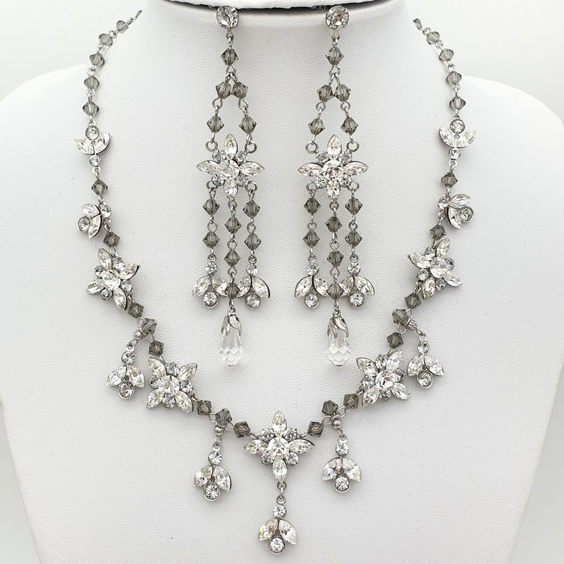 Grey Swarovski crystal necklace set