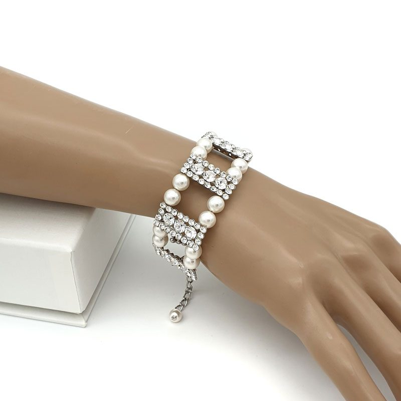 Swarovski pearl and crystal art deco bracelet