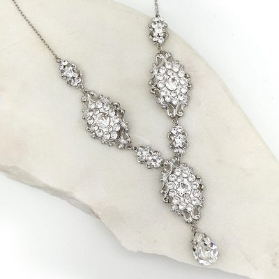 Silver Swarovski bridal necklace