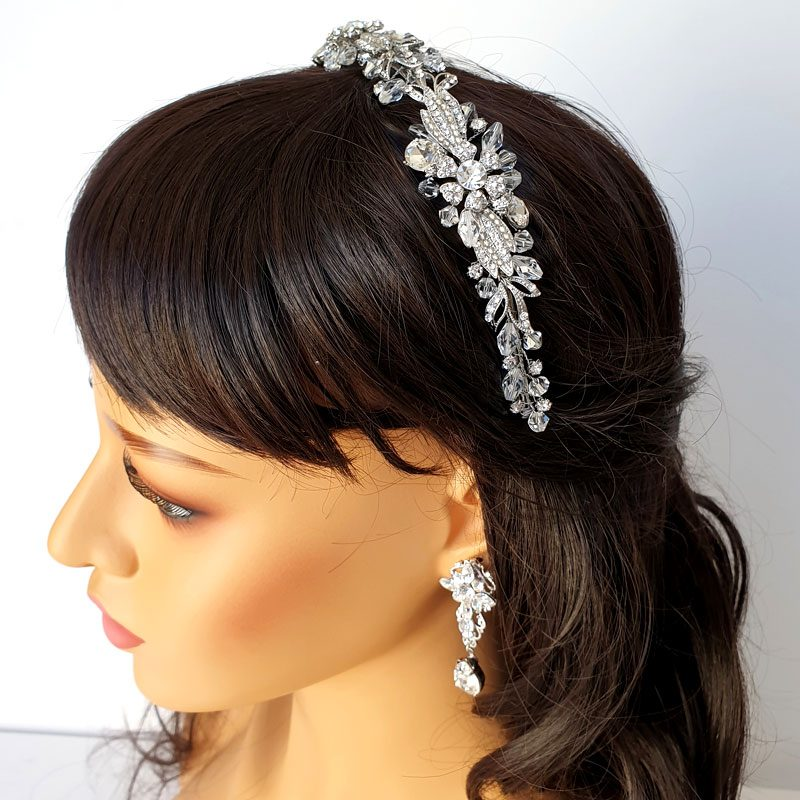 Floral crystal bridal headband