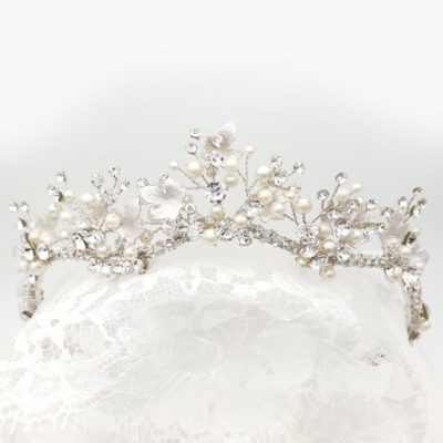 Silver pearl and crystal bridal tiara