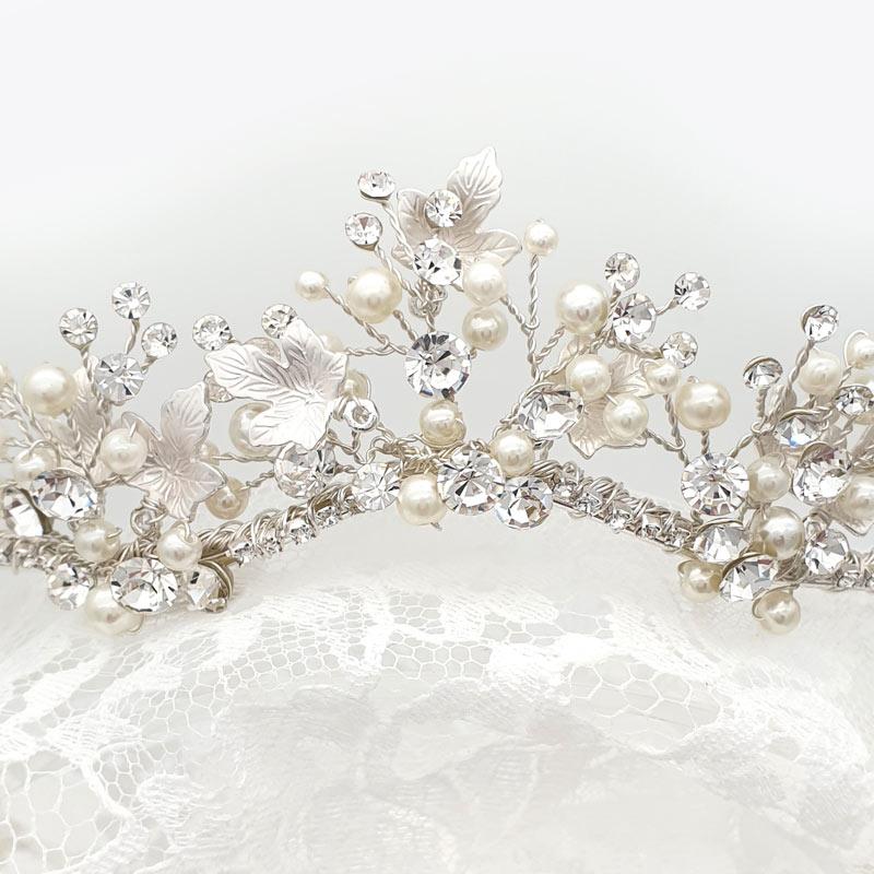 Silver pearl and crystal tiara