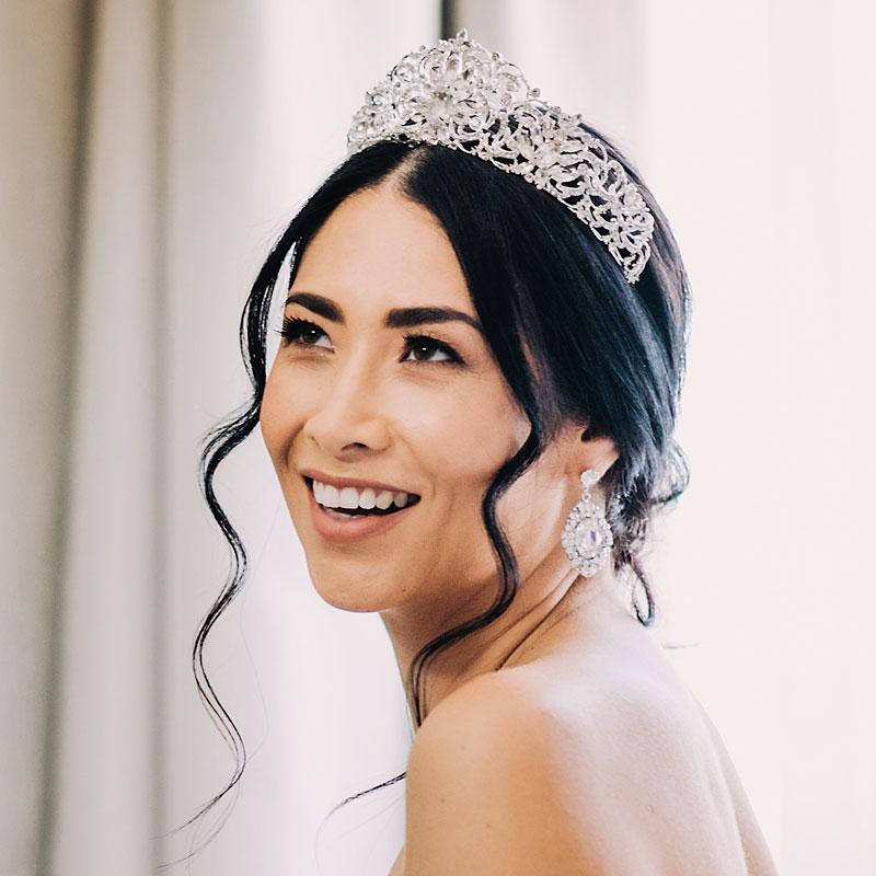 Silver statement bridal crown