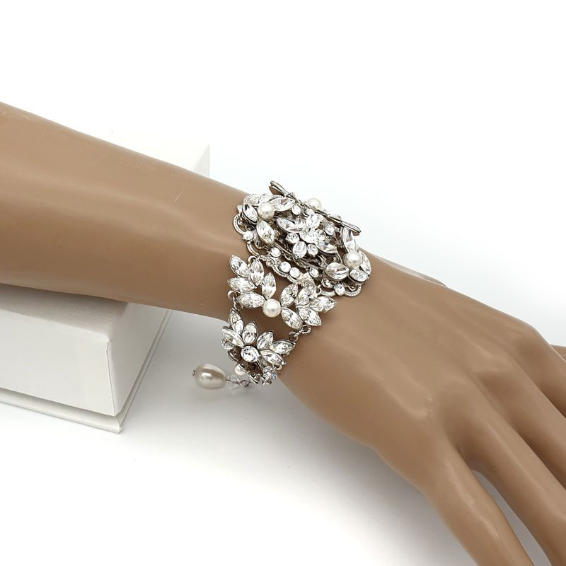 Silver pearl and crystal bridal cuff