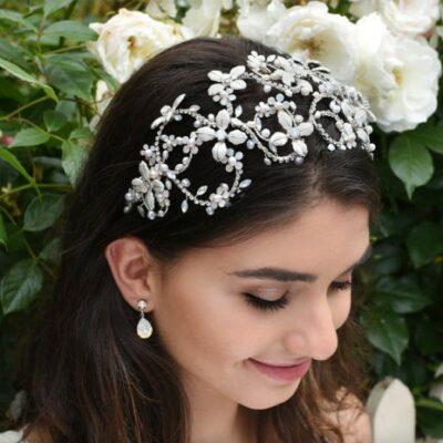 Floral Opal Silver Bridal Headband