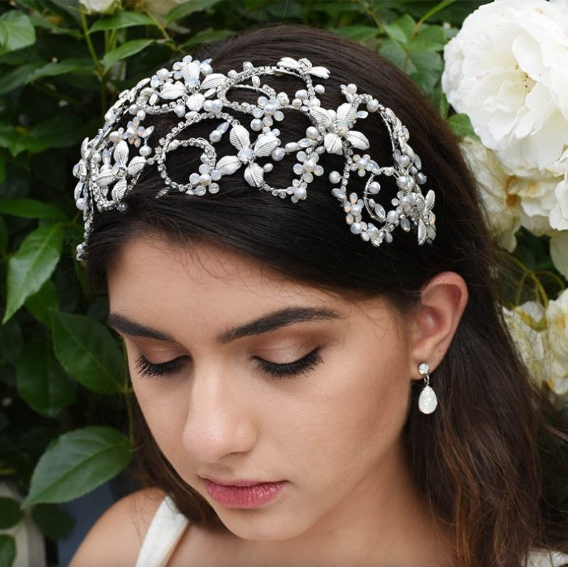 Silver wide floral bridal headband with opal crystals