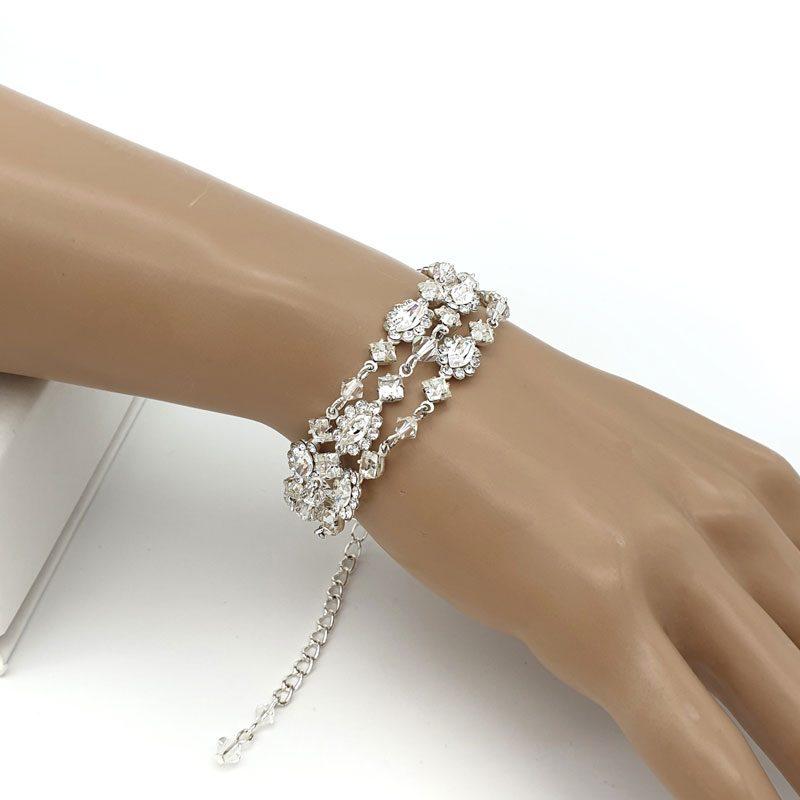 Silver crystal strand bracelet