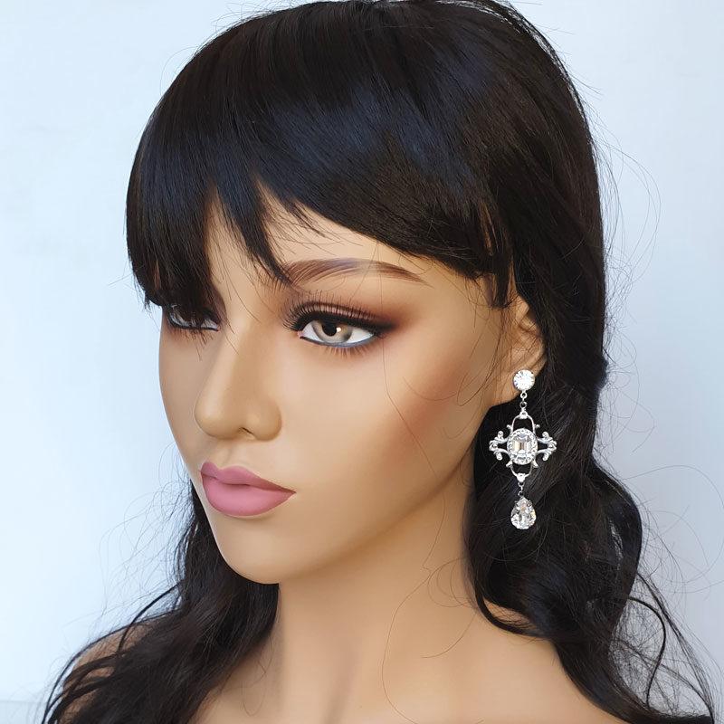 Long drop bridal earrings