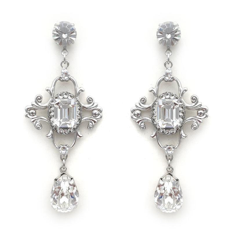 Silver Swarovski crystal bridal earrings