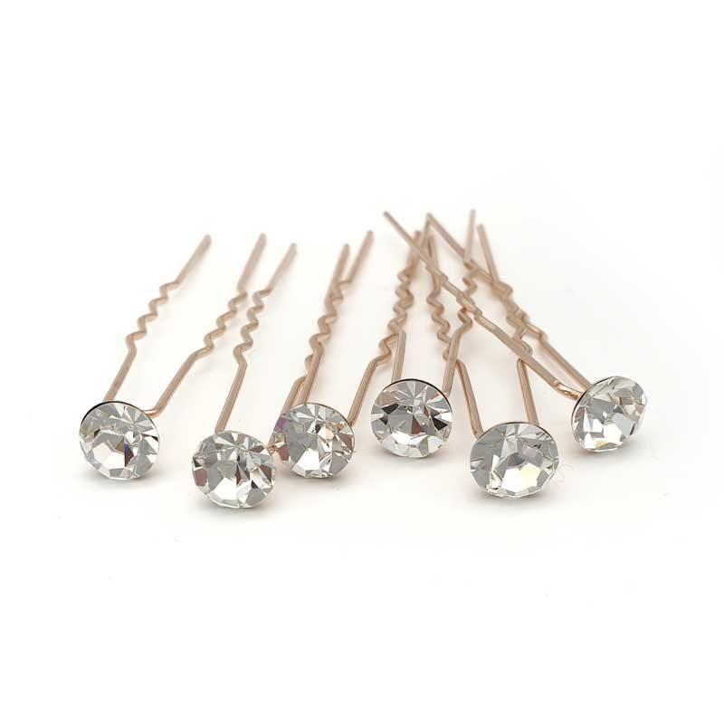 rose gold crystal hair pins