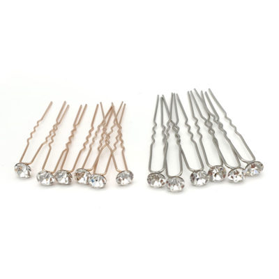 silver and rose gold crystal hair pins