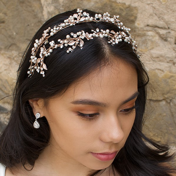 'Helena' Floral Pearl Headband (Silver or Rose Gold)