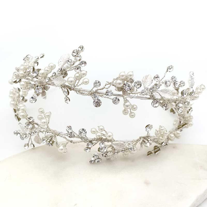 Silver pearl floral twin bridal headband