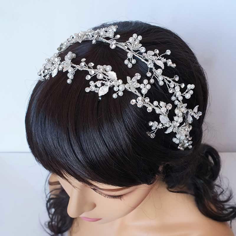 Floral pearl bridal headband
