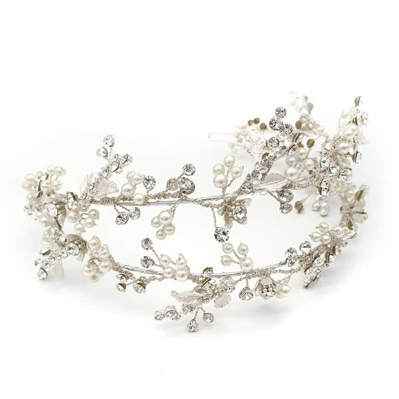 Silver pearl and floral twin headband