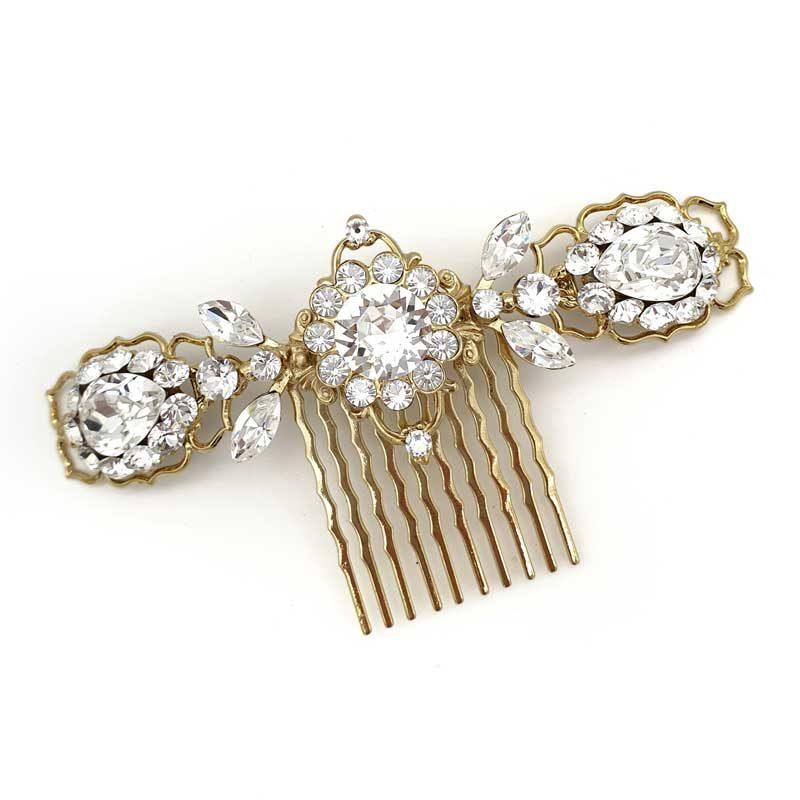 Gold Swarovski Crystal hair comb