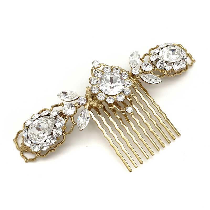 Gold Swarovski crystal bridal hair comb