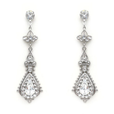 Long Swarovski crystal drop earrings