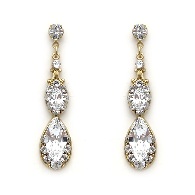gold Swarovski crystal drop earrings