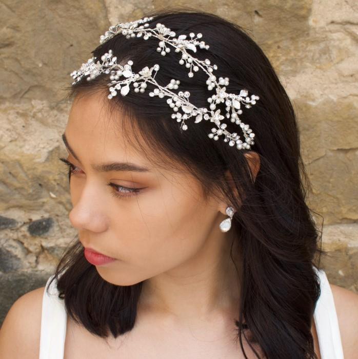 silver floral double bridal headband