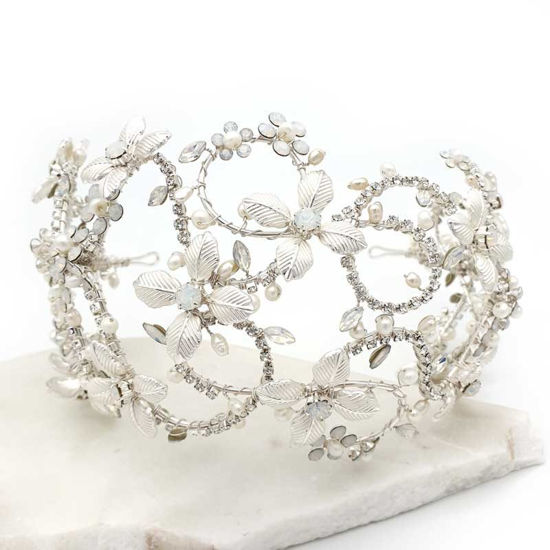 Silver floral statement headband