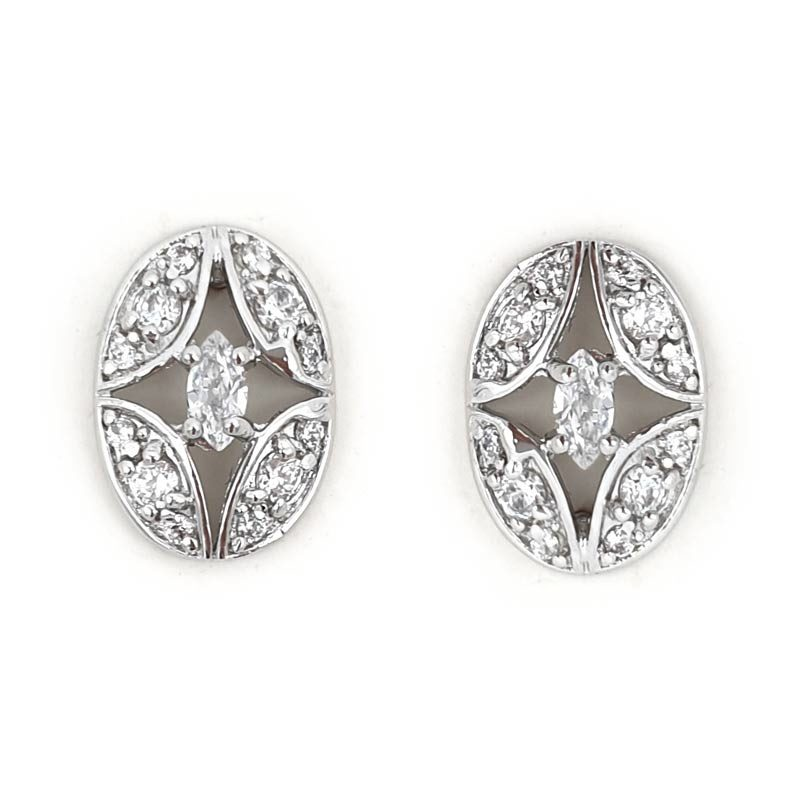 Silver art deco stud earrings