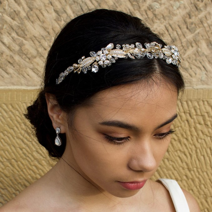 Gold floral bridal headband