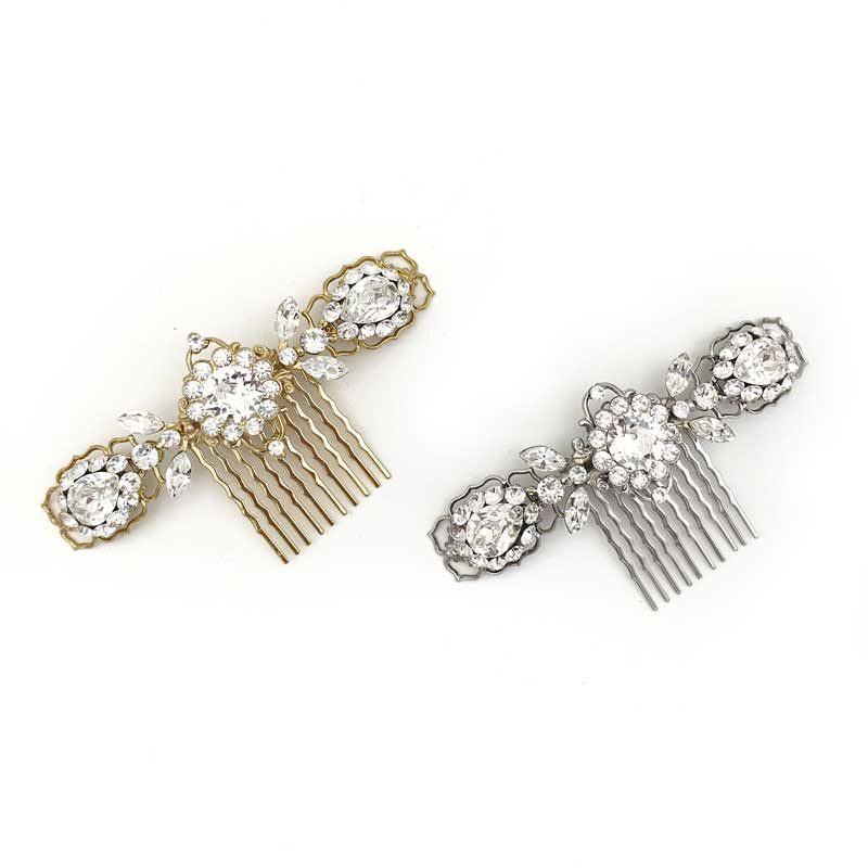 Silver or gold bridal hair comb