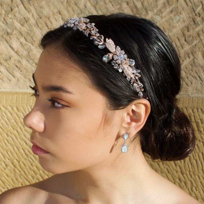 Rose gold floral bridal headband