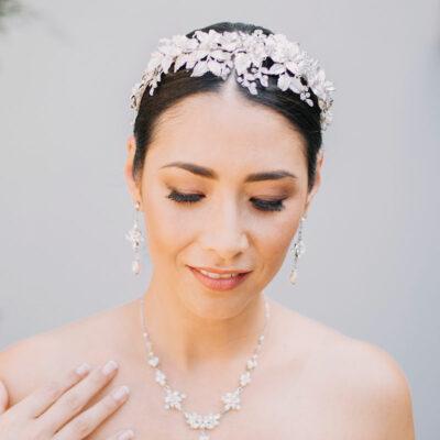 silver floral statement headband