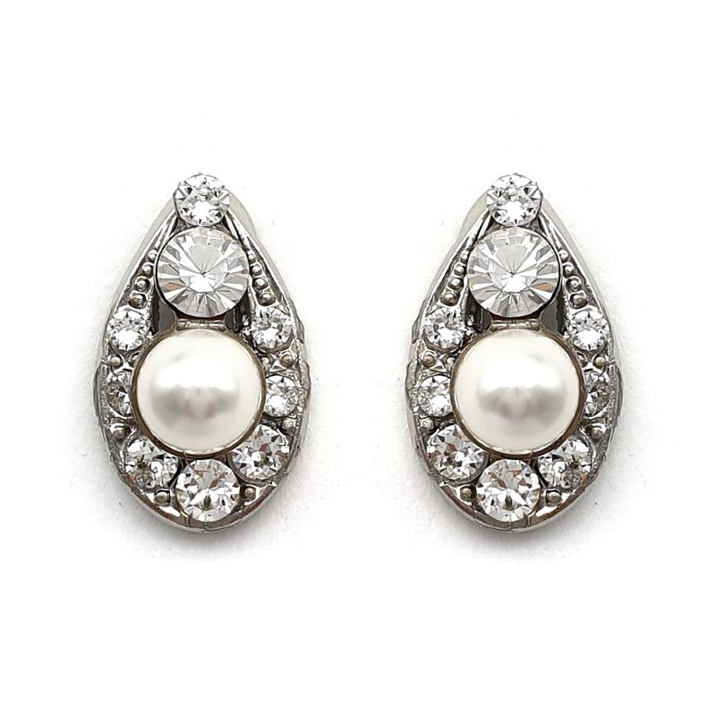 Crystal and pearl clip on earrings