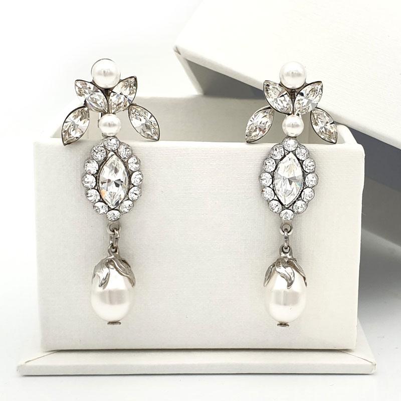 Silver pearl drop clip on bridal earrings