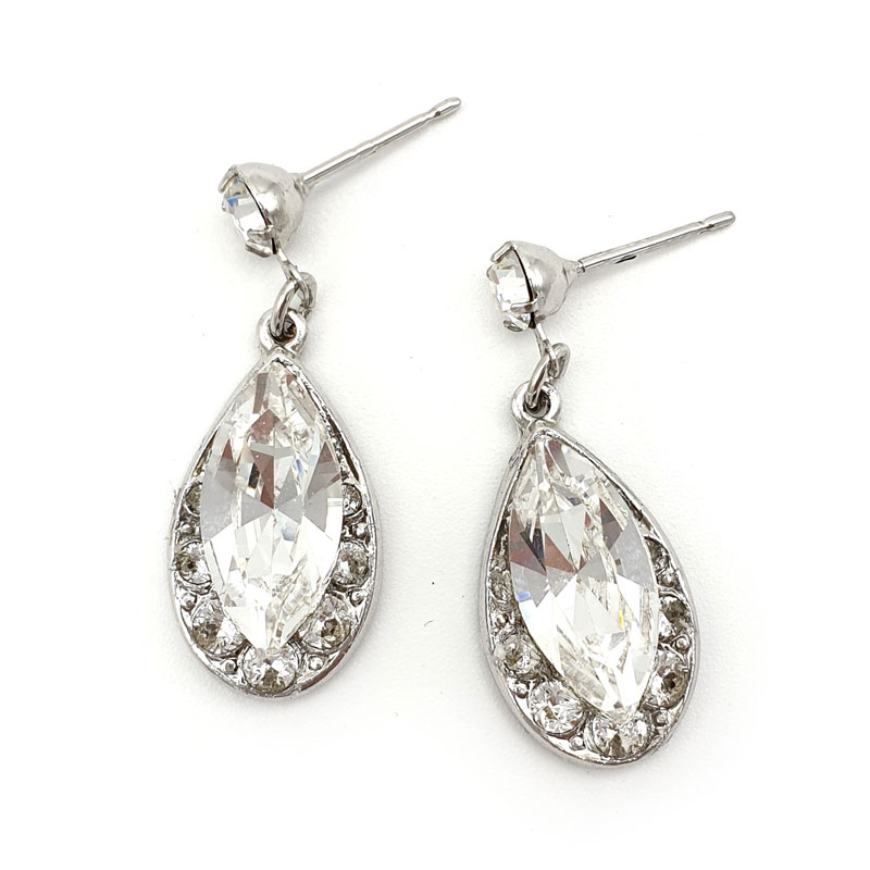 Small Silver Crystal Drop Earrings