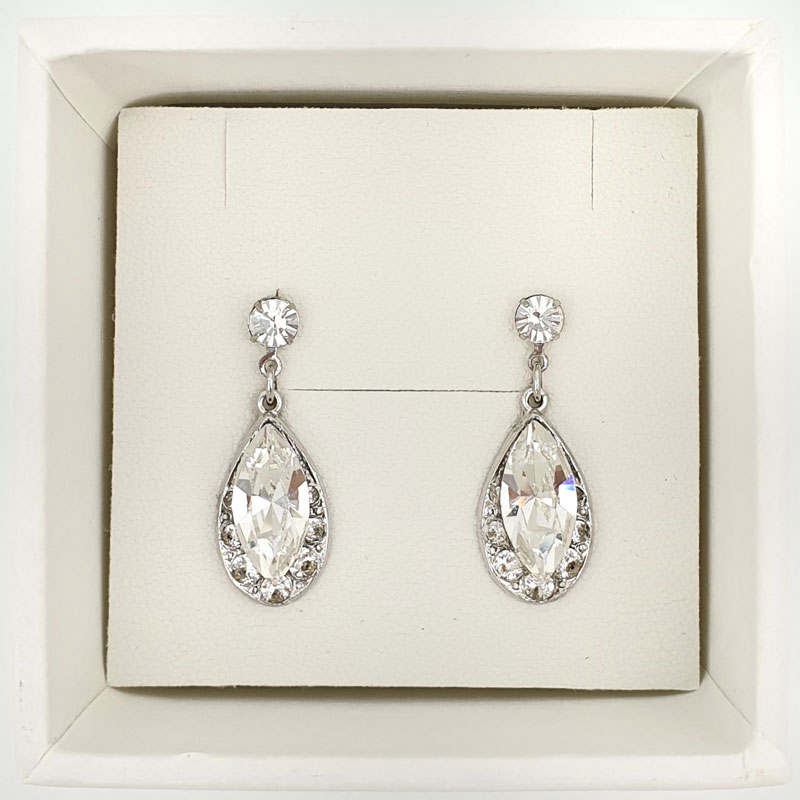 Silver Crystal small drop earrings