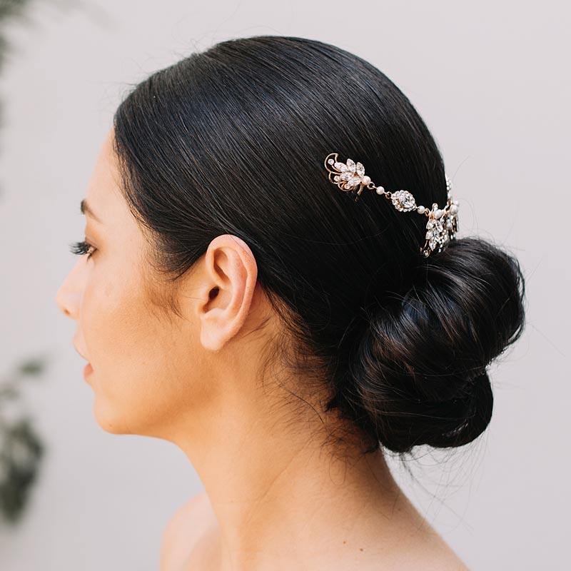 Bespoke crystal and pearl bridal hair piece