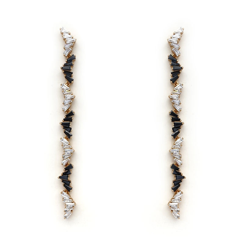 Black and clear long strip earrings