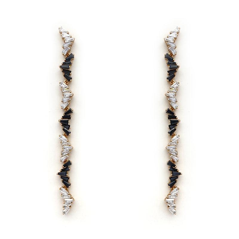 Black and clear long strip earrings
