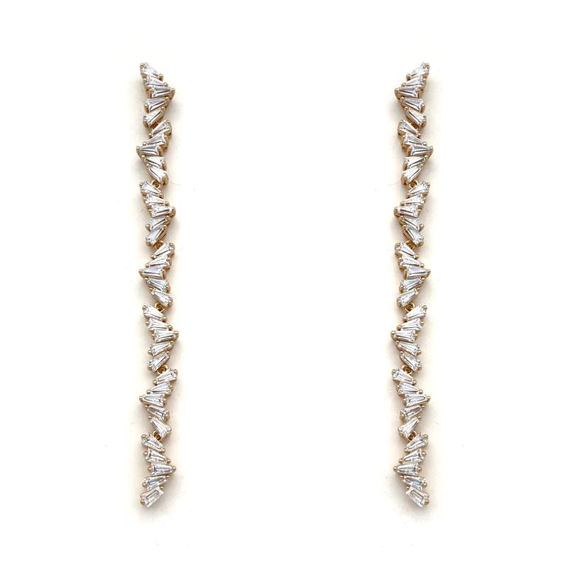 Long strip rose gold earrings