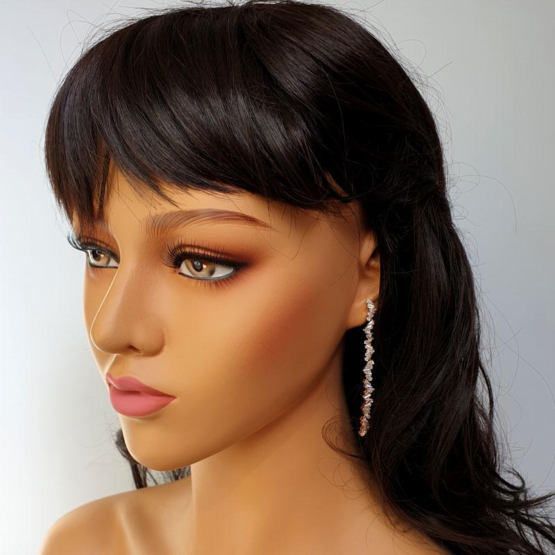 Rose gold long clear earrings