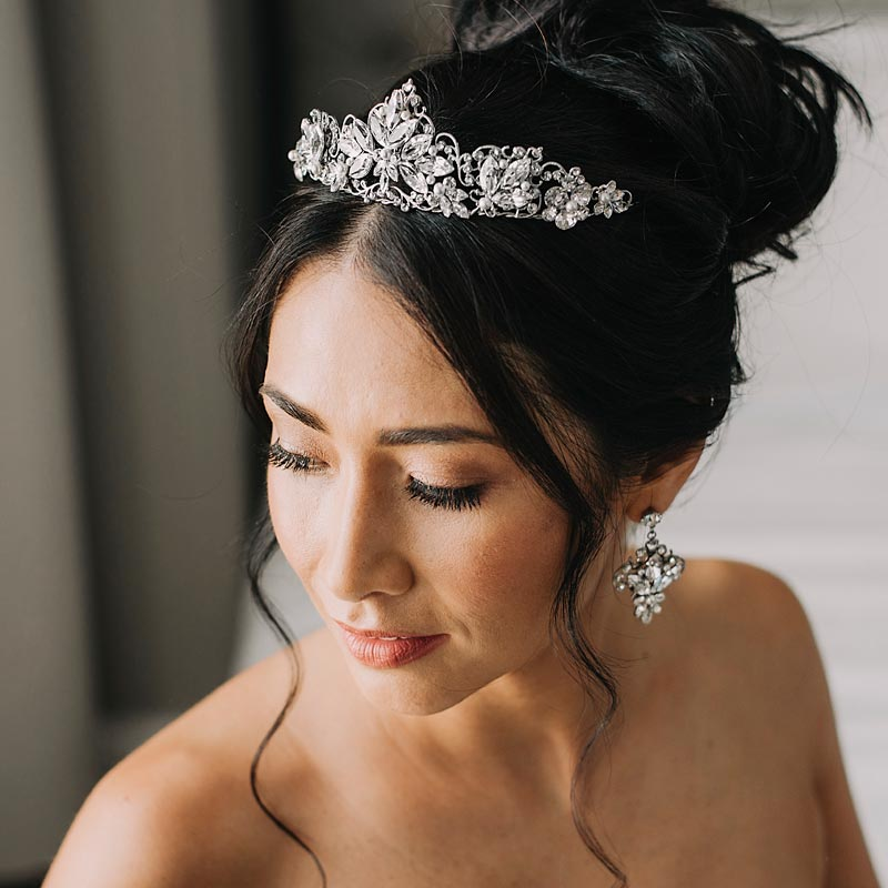 crystal and pearl bridal crown and earrings set