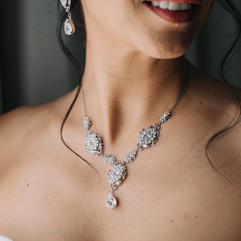Crystal bespoke bridal necklace set